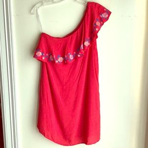 Lulus NWT red ruffle one shoulder dress Small